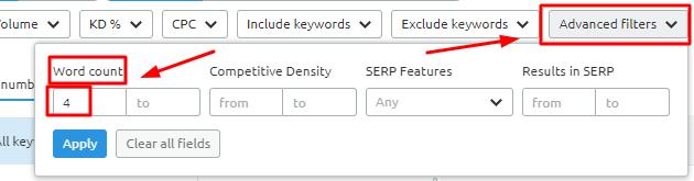 Semrush Long tail keywords generator
