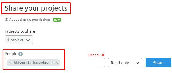 Share Project SEMrush SEO Tool